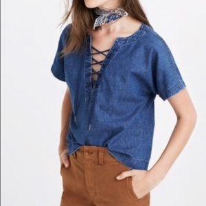 Madewell Denim Crop Lace Up Top Shirt Blouse